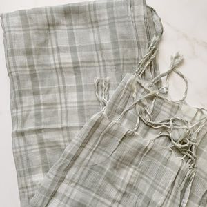 Sheer Grey and White Striped Scarf